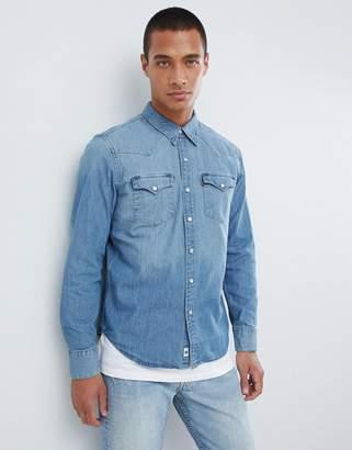 09b1e02e8d5c Levi's Levis denim shirt barstow slim fit western redcast stone light wash