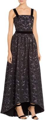 St. John Floral Lamé Jacquard Gown