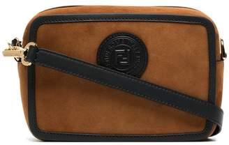 Fendi brown logo stamp suede leather camera bag