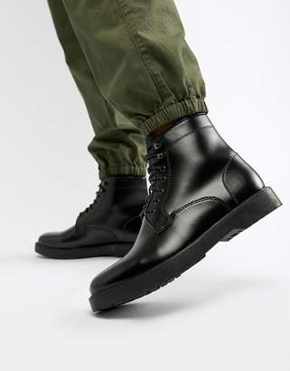 Zign Shoes lace up boots in black high shine