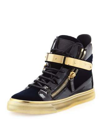 Giuseppe Zanotti Velvet High-Top Side-Zip Sneaker, Navy $589 thestylecure.com