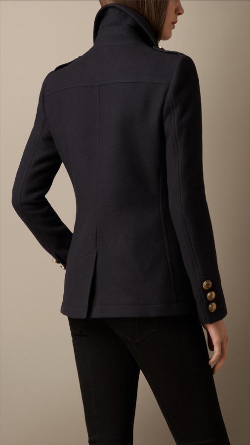 Burberry Shearling Collar Pea Coat