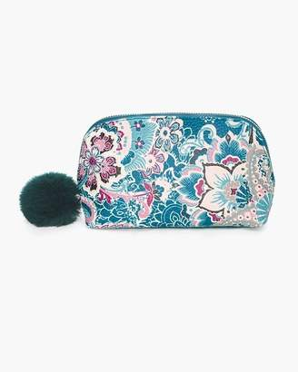 Floral Lace-Print Cosmetic Case