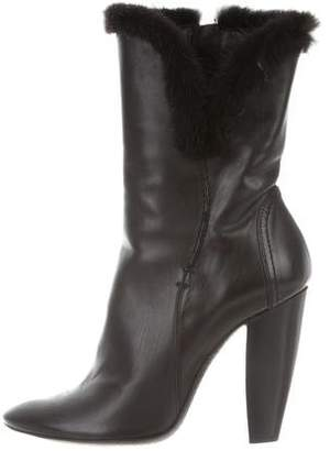 CNC Costume National Mink-Trimmed Leather Ankle Boots