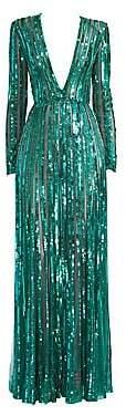 Elie Saab Women's Long Sleeve Deep V-Neck Sequin Gown
