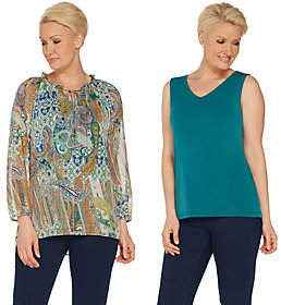 Susan Graver Printed Sheer Chiffon Peasant Top& Knit Tank Set
