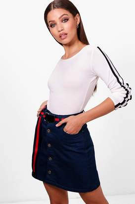 boohoo Button Through Denim Mini Skirt