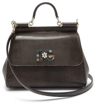 Dolce & Gabbana - Sicily Medium Iguana Effect Leather Bag - Womens - Dark Grey