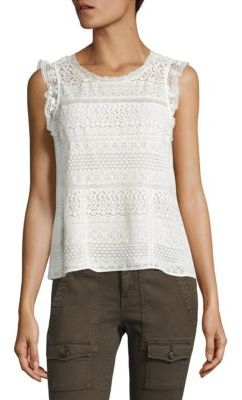 Joie Lupe Ruffled Lace Tank Top $228 thestylecure.com