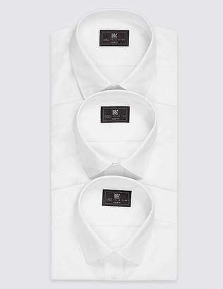 Marks and Spencer 3 Pack Cotton Blend Regular Fit Shirts