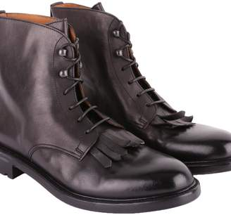 Doucal's Fringed Leather Military Boots