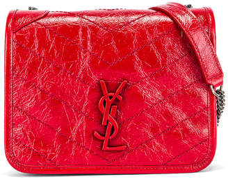 Saint Laurent Niki Wallet Chain Bag in Red   FWRD