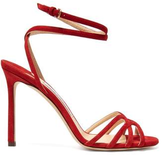 Jimmy Choo Mimi 100 Wrap Around Suede Sandals - Womens - Red