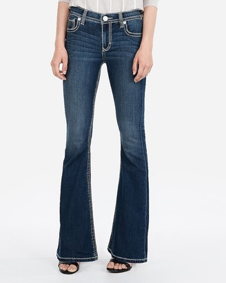 Express Mid Rise Thick Stitch Stretch Bell Flare Jeans