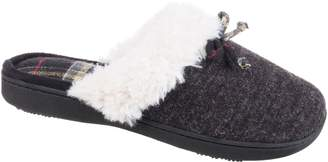Isotoner Women's Brushed Sweater Knit Clog Slippers, Large, Black
