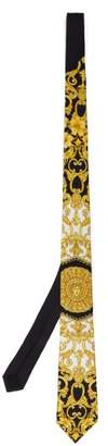 Versace Baroque Print Silk Tie - Mens - White Gold