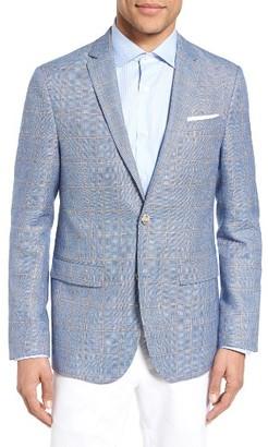 Men's Sand Trim Fit Windowpane Wool & Linen Sport Coat $650 thestylecure.com