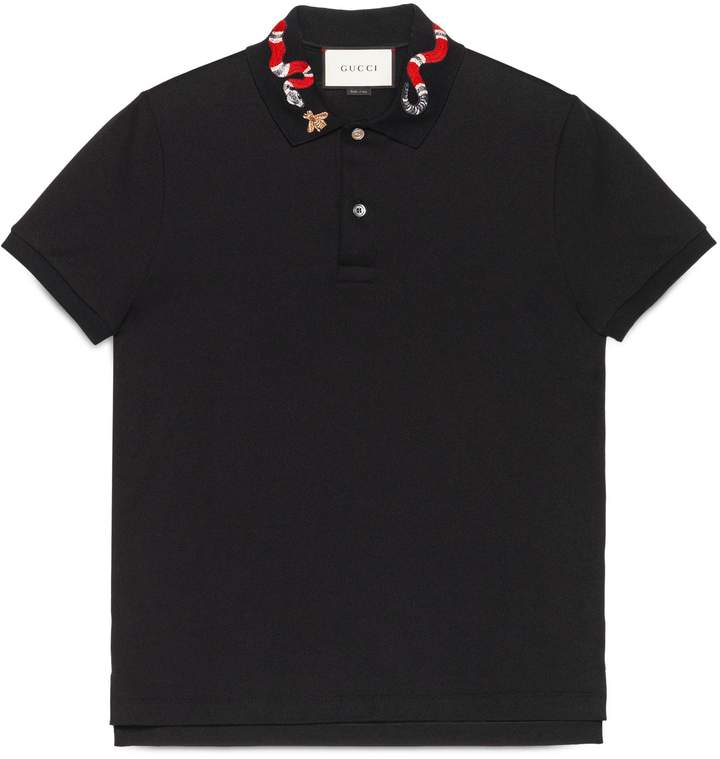 Cotton polo with Kingsnake embroidery