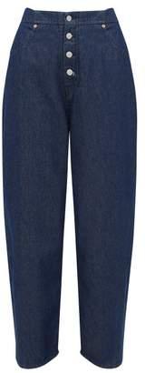 MM6 MAISON MARGIELA High Rise Cotton Wide Leg Jeans - Womens - Denim