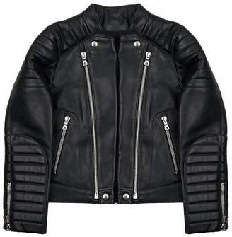 Balmain Leather Double Zip Jacket