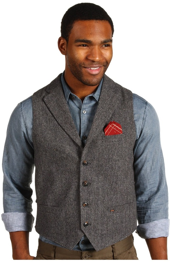 Scotch & Soda Fun Funk Wool Vest with Handkerchief (Grey) - Apparel