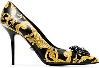 Versace black, yellow and white barocco 95 leather pumps
