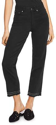Vince Camuto Studded Cropped Straight-Leg Jeans in Jet Black