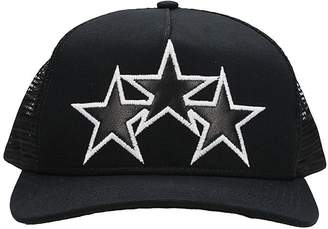 Amiri Star Trucker Black Canvas/leather And Mesh Cap