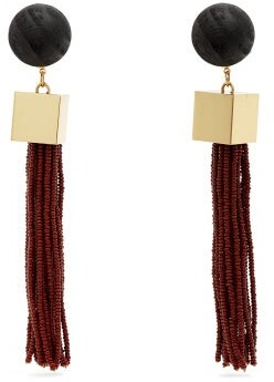 Vanda Jacintho - Cube Tassel Drop Earrings - Womens - Burgundy