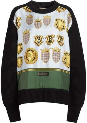 Burberry Archive Scarf Print Panel Wool Sweater