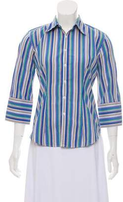 Ralph Lauren Black Label Striped Three-Quarter Sleeve Blouse