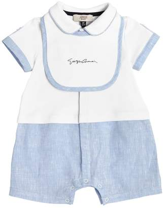 Armani Junior Cotton Jersey & Linen Romper W/ Vest