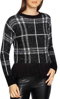 1 STATE 1.STATE Eyelash Plaid Fringe-Trim Sweater
