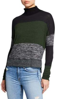 Rag & Bone Bowery Striped High-Low Turtleneck Sweater
