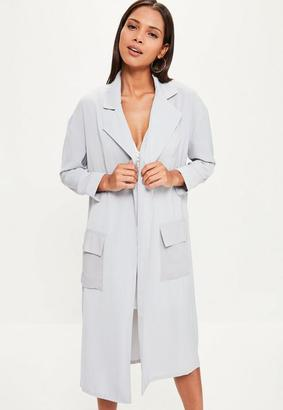 Grey Chiffon Patch Pocket Woven Duster Jacket $70 thestylecure.com