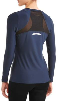 New York Laundry Womens Active Long Sleeve V-Neck Mesh Top (SIZES S-3X AVAILABLE)