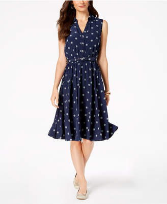 Charter Club Petite Printed Belted Shirtdress, Created for Macy's