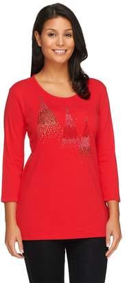 Factory Quacker Ombre Sparkle Trees 3/4 Sleeve T-shirt
