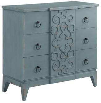Crestview Collection Roslyn 3 Drawer Fretwork Design Chest in Cerulean Finish