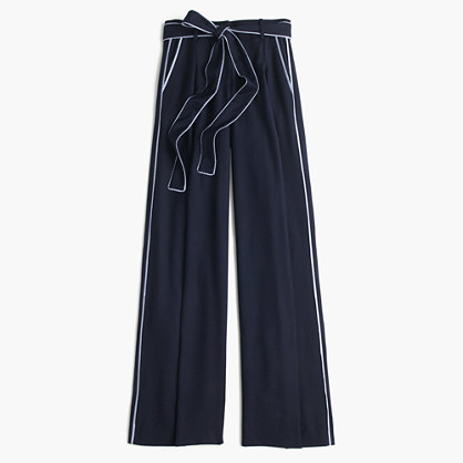 J.Crew J.Crew for NET-A-PORTER® wide-leg pant with striped piping