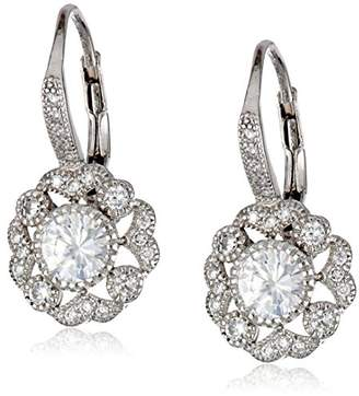 Sterling Round Cubic Zirconia Dangle Earrings (1/2 cttw)