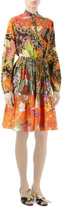 Gucci Mussola Patchwork Print Long Sleeve Cotton Dress