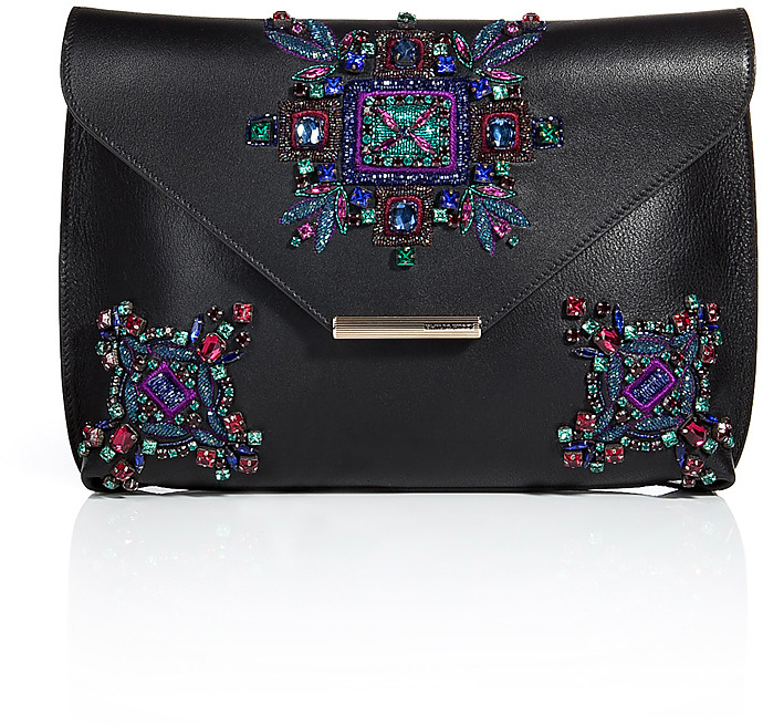 Emilio Pucci Embellished Leather Newton Envelope Clutch
