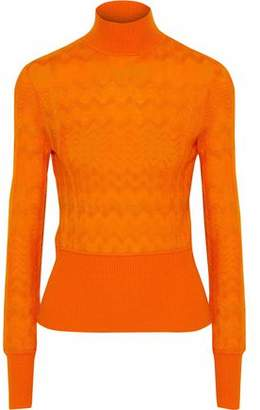 Missoni Brushed Crochet-knit Turtleneck Sweater