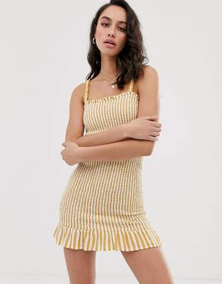 Bershka frill detail shirred dress in yellow