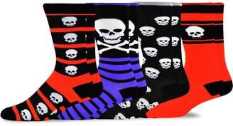 TeeHee Socks TeeHee Novelty Young Men Halloween Fun Crew Socks 4-Pack (Skull Monster Ghost face)