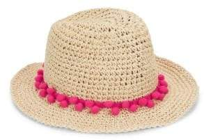 Pom-Pom Band Straw Hat