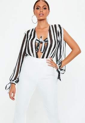 Missguided White Tie Front Split Sleeve Bodysuit, Black