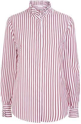 Claudie Pierlot Ruffle Trim Striped Shirt