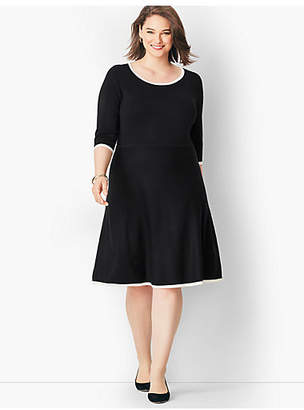 Talbots Tipped Fit & Flare Sweater Dress
